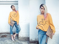 Sheena Son - Lativ Sweatshirt, Zara Retro Jeans, D+Af Sparkle Heels, H&M Earrings - Casual as Usual